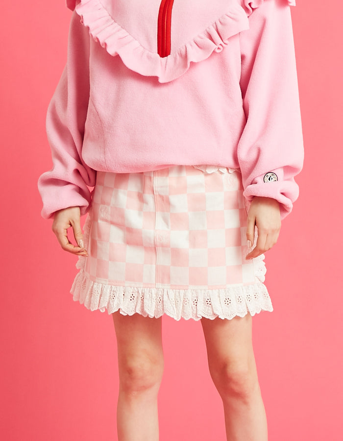 Checker lacy skirt / PINK