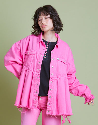 Original colored denim washed jacket / PINK