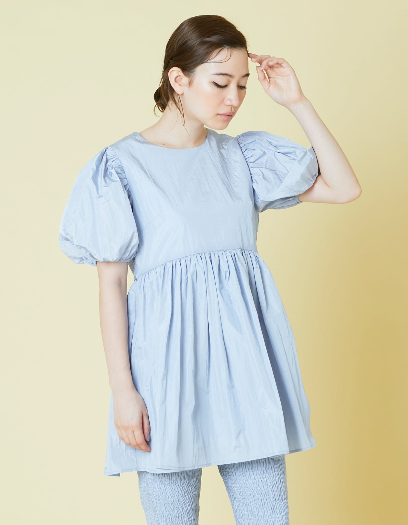 Nylon puff sleeve mini dress / BLUE