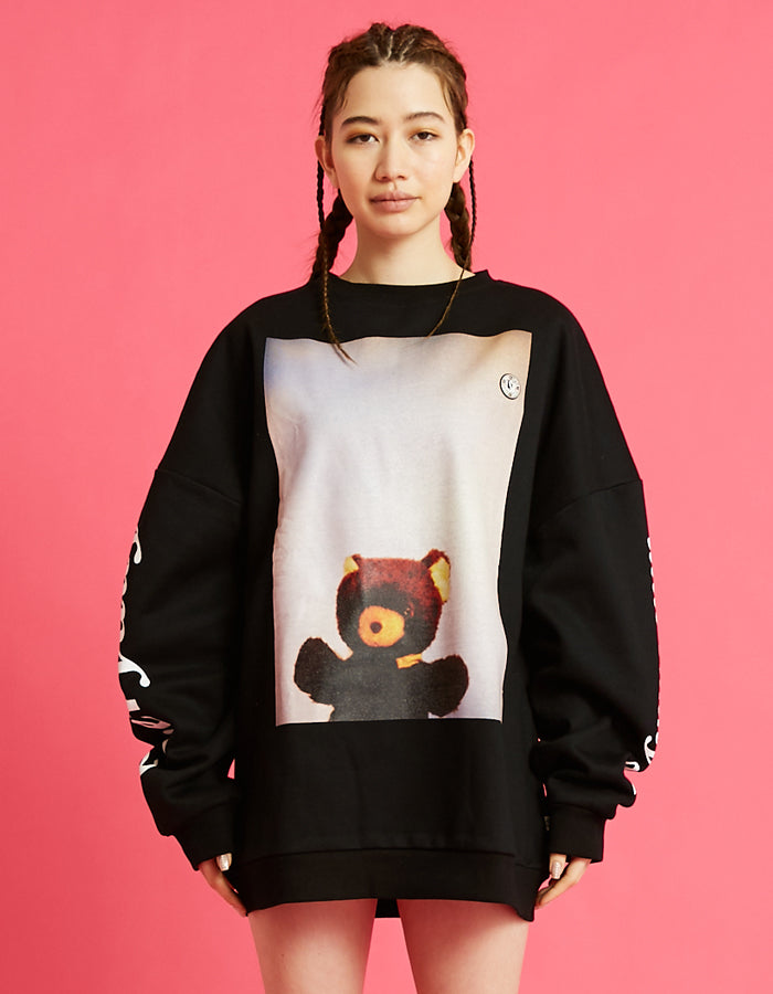 Photo big sweater top / BLACK