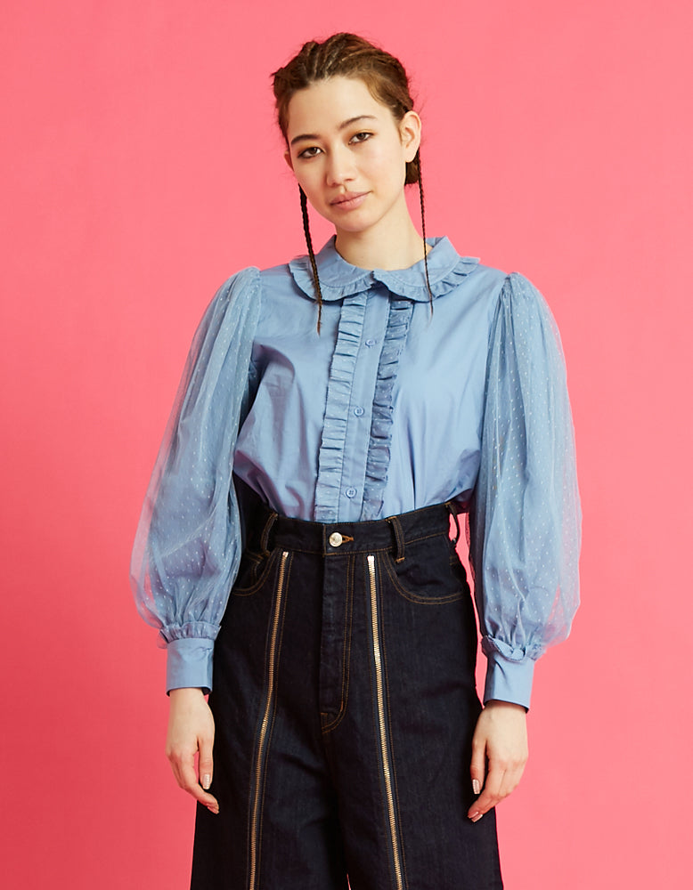 Layered sleeve blouse / BLUE