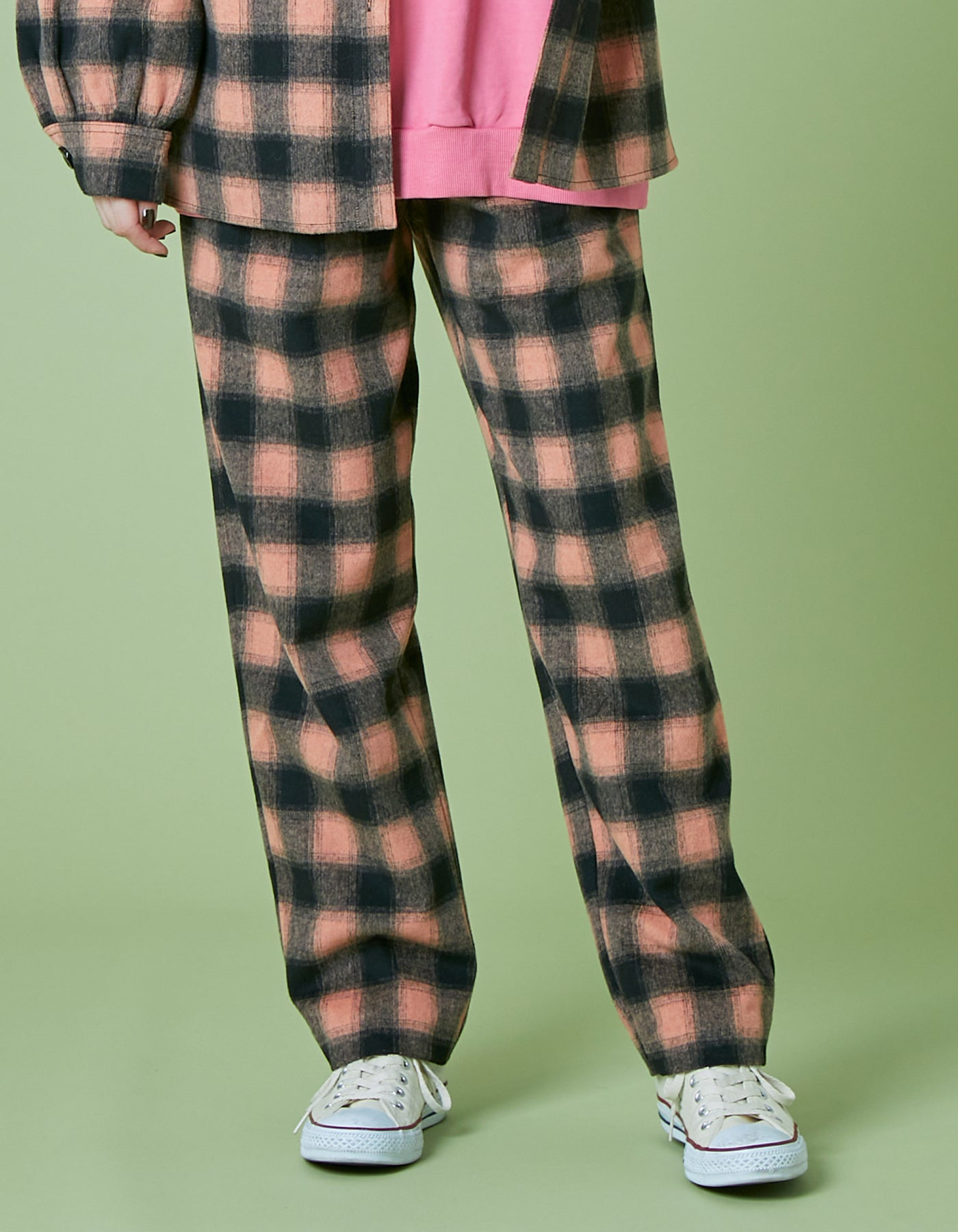Melton checked pants / ORANGE