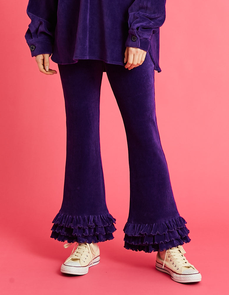 Corduroy frill pants / PURPLE