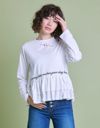 Frill girly long tee / WHITE
