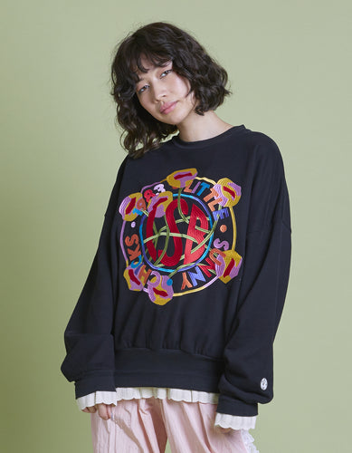 annukilpelainen x little sunny bite Logo stitched sweat top / BLACK