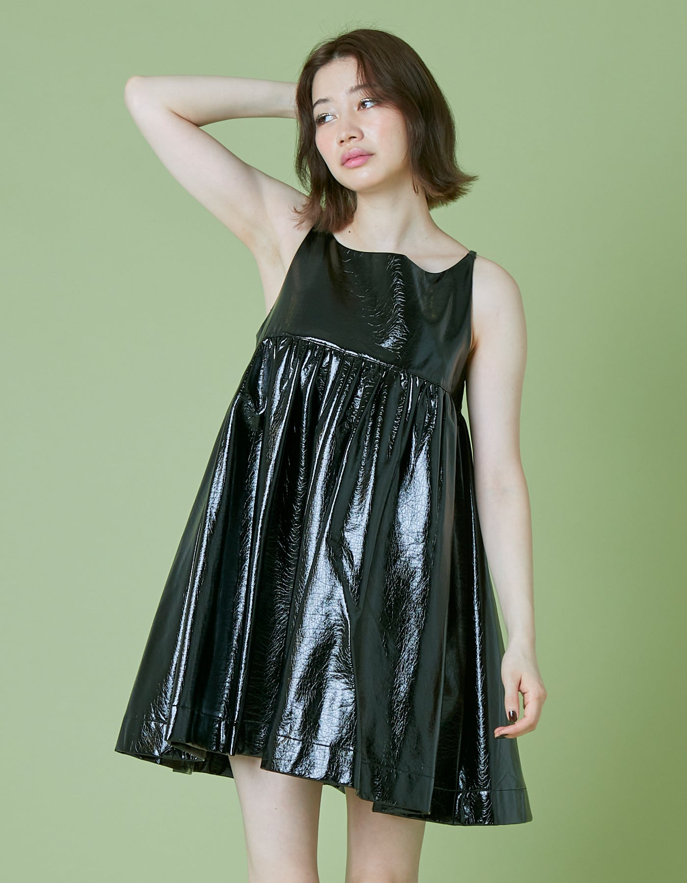 Synthetic leather short dress / BLACK