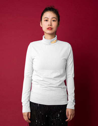 Colorful figh neck top - high neck top / WHITE