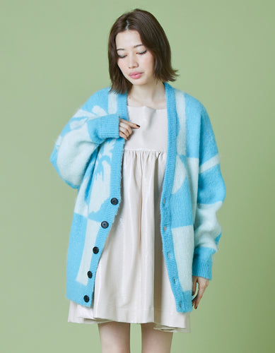 Hibiscus knit cardigan / BLUE
