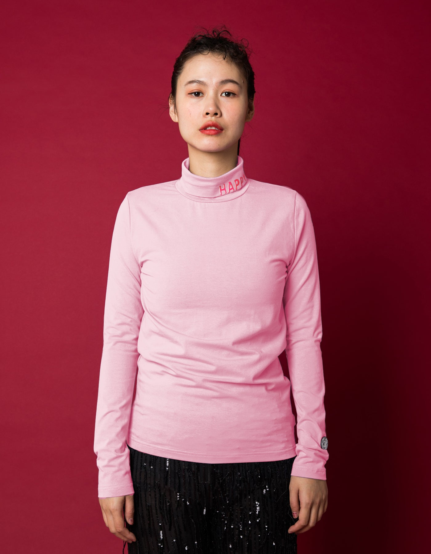 Colorful figh neck top - high neck top / PINK