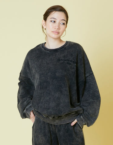 Chemical wash sweat top / BLACK