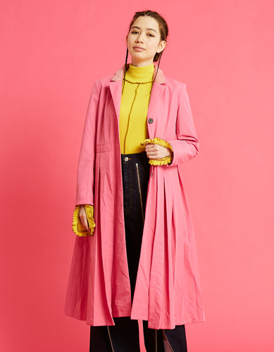 Nylon pleat long jacket / PINK