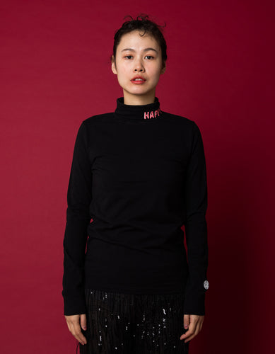 Colorful figh neck top - high neck top / BLACK