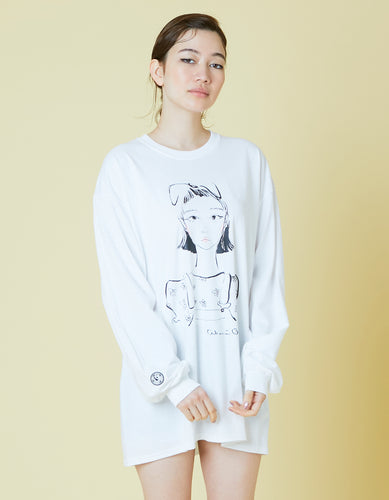 ogura akane x little sunny bite A girl long tee / WHITE