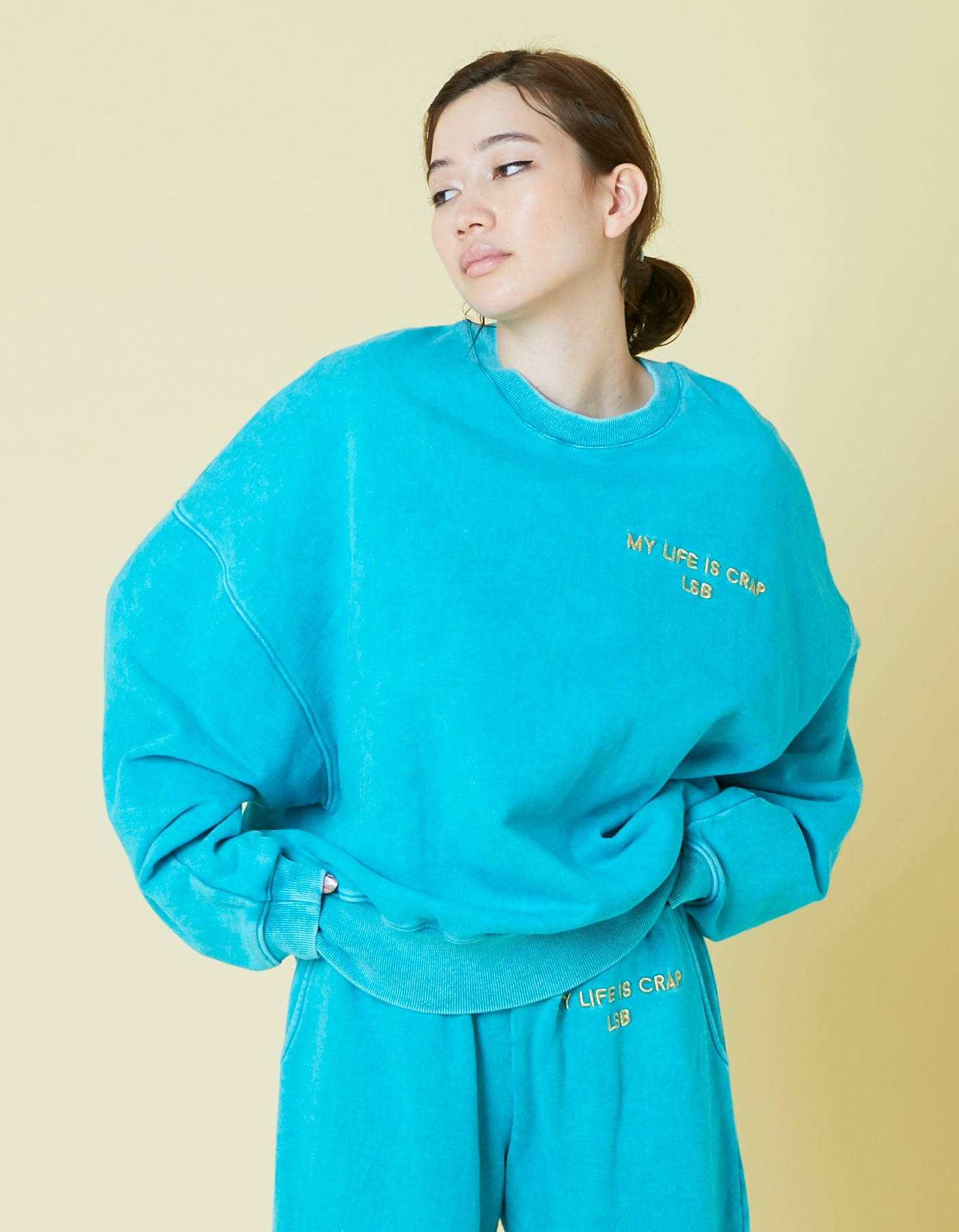 Chemical wash sweat top / BLUE