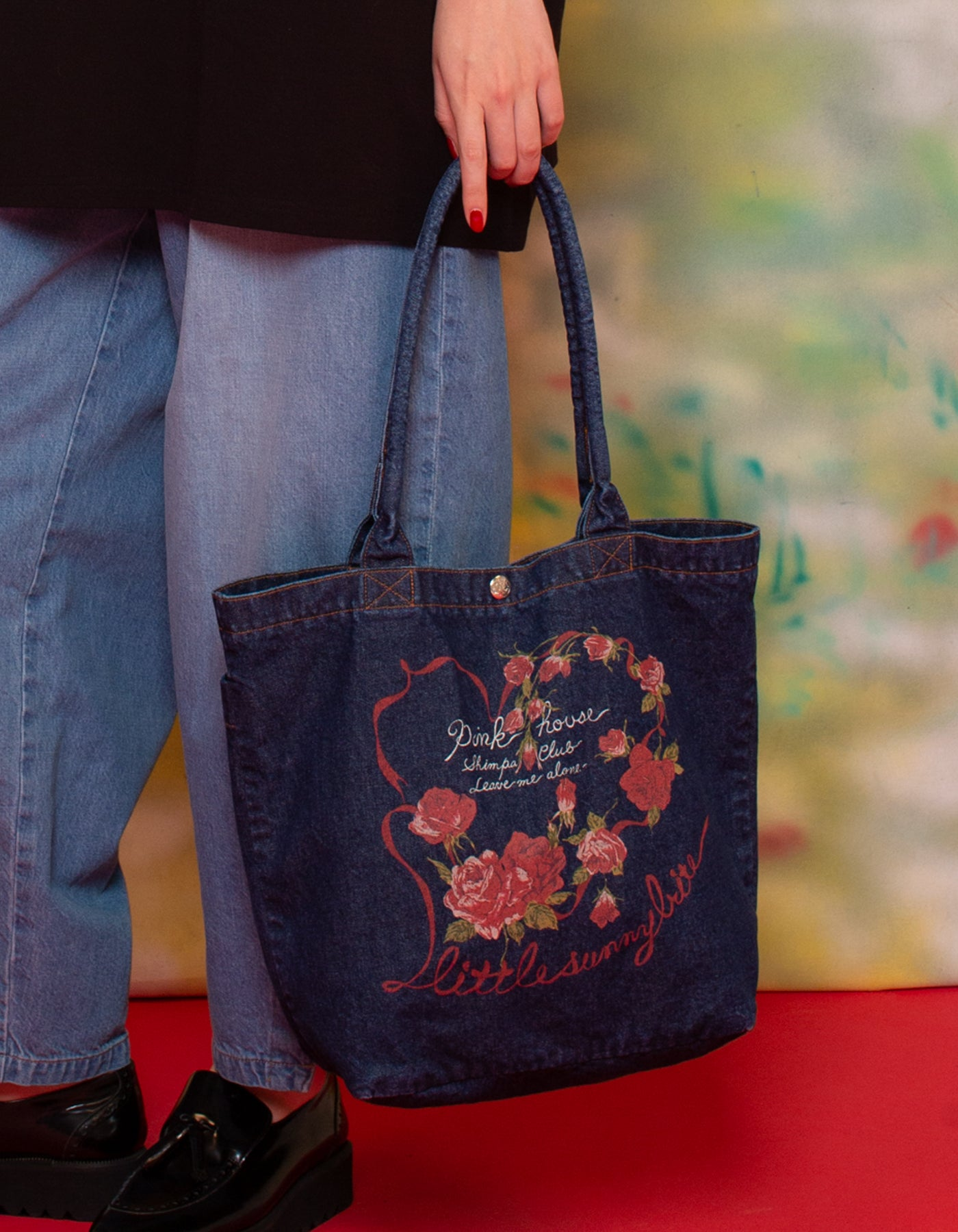 little sunny bite と pink house Rose heart denim bag / INDIGO