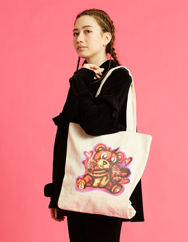 Left Hand X LITTLE SUNNY BITE : graffiti tote bag / NATURAL