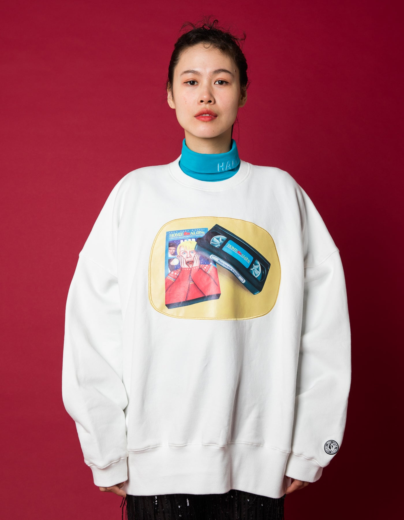 Very merry little sunny bite crew - favorite VHS sweat top / WHITE