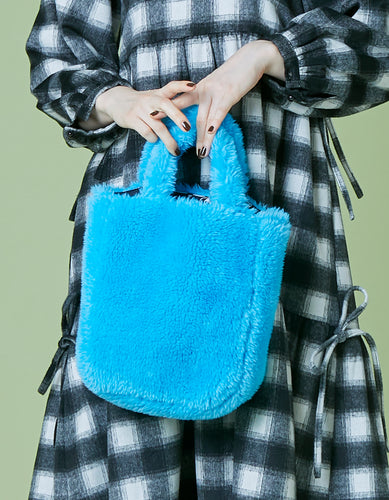 Fur mini bag / BLUE