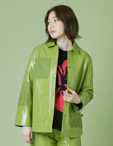 Synthetic leather jacket / GREEN