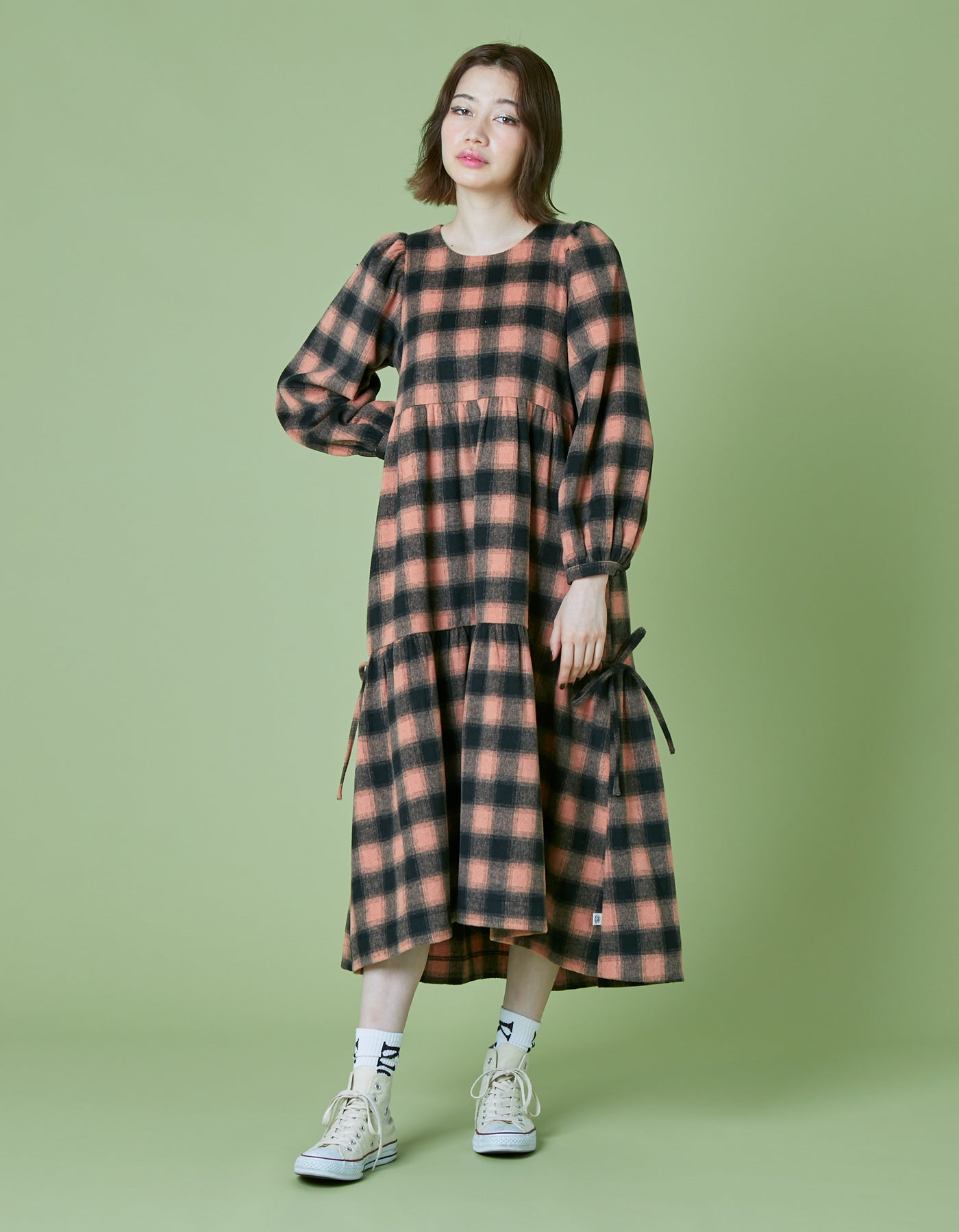 Melton checked long dress / ORANGE
