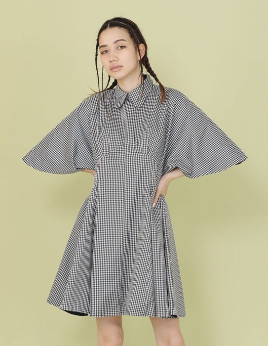 NYLON CHECKER DRESS / BLACK
