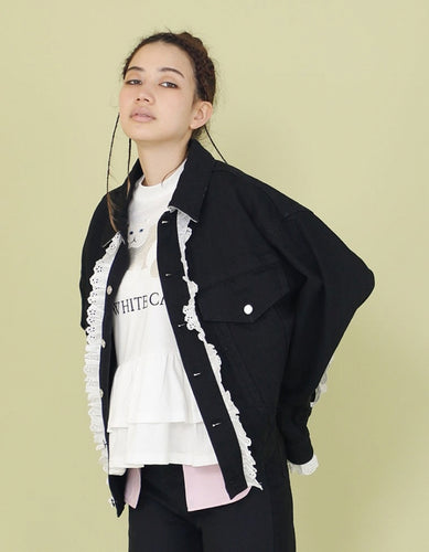 FRILLED DENIM BOMBER JACKET / BLACK
