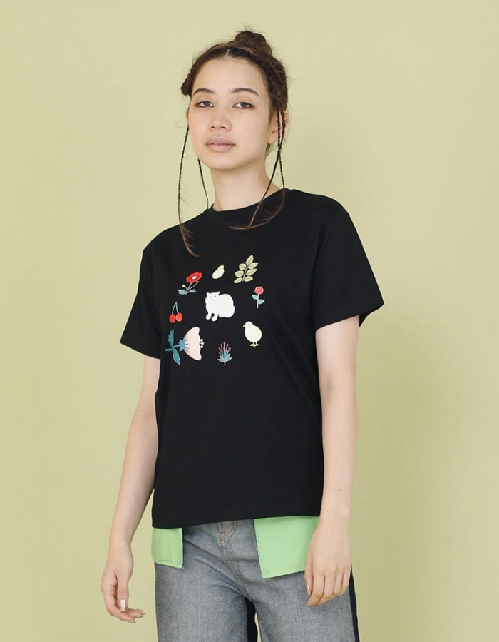 CLAP CLAP X LITTLE SUNNY BITE : ANIMALS TEE / BLACK