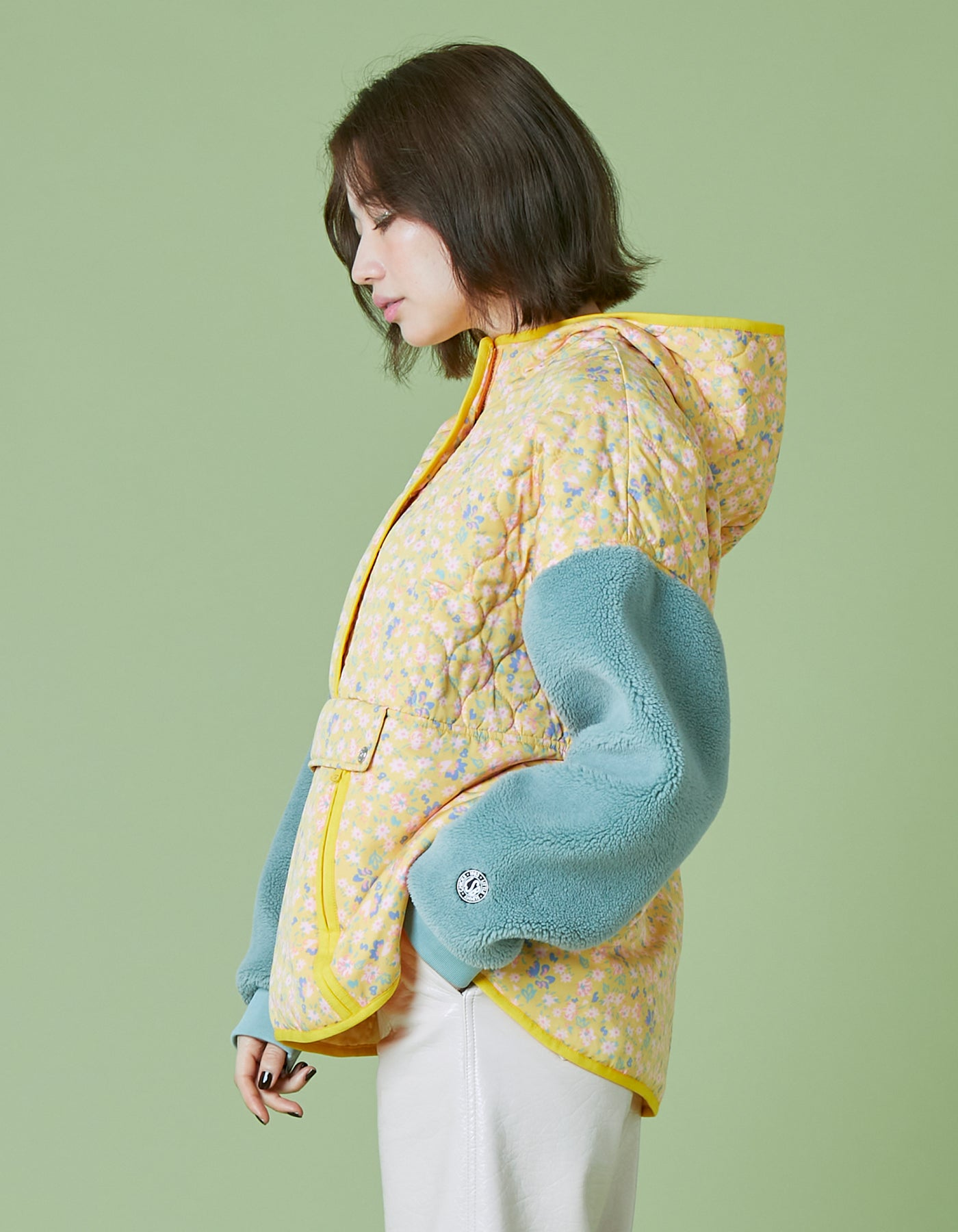 Original floral quilting pullover / YELLOW