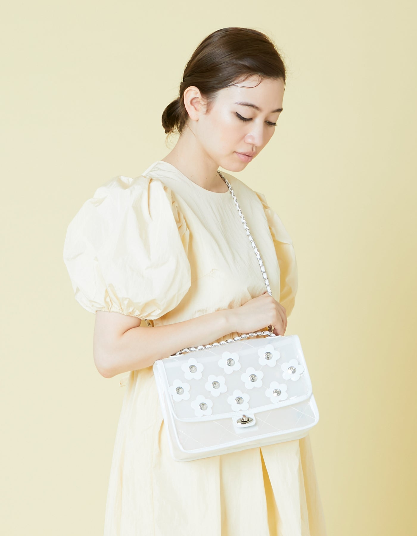 PVC 2way floral bag / WHITE
