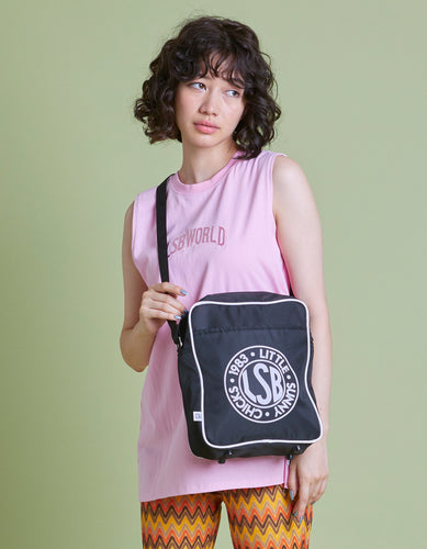 LSB Nylon logo shoulder bag / BLACK