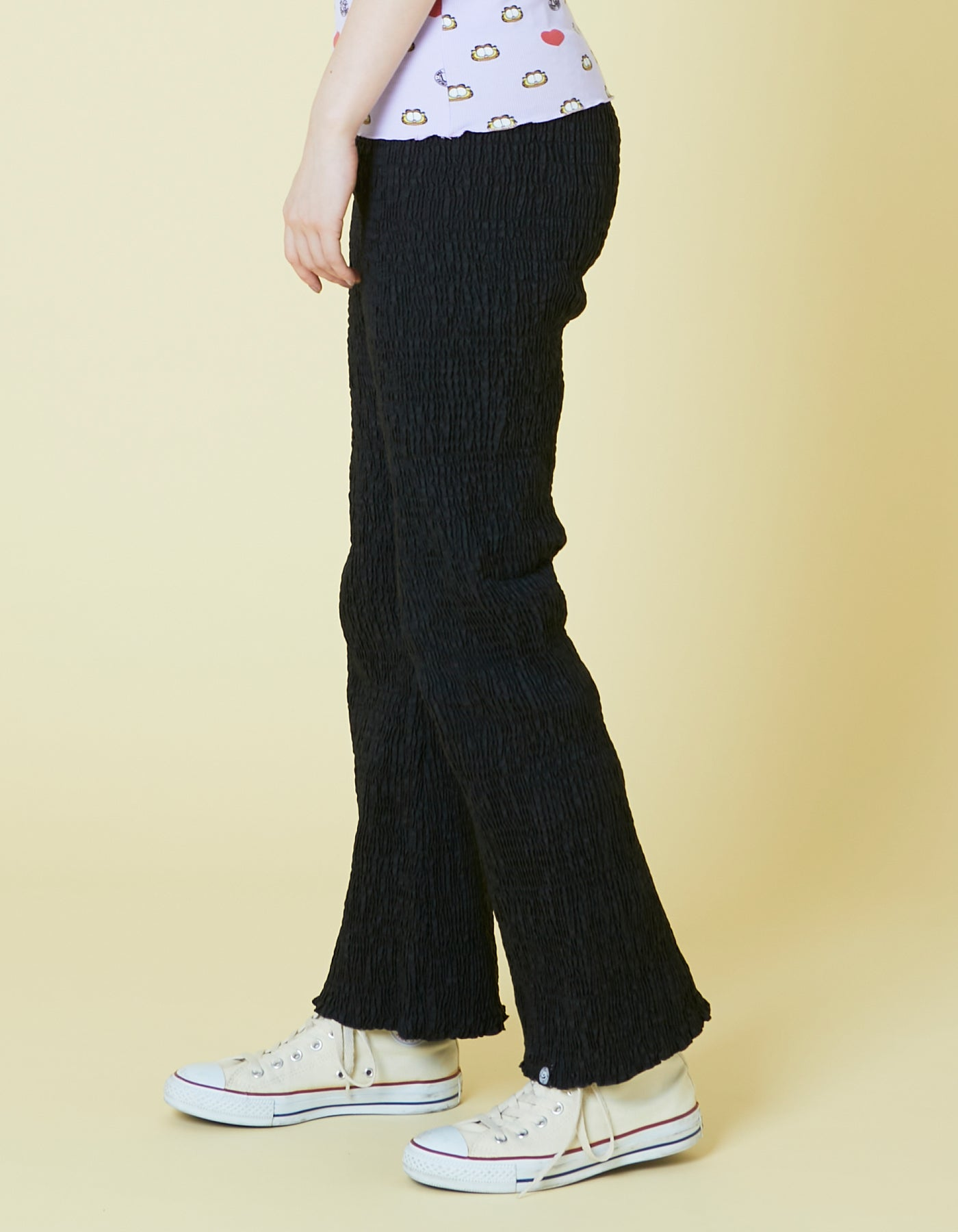 Nylon shirring pants / BLACK