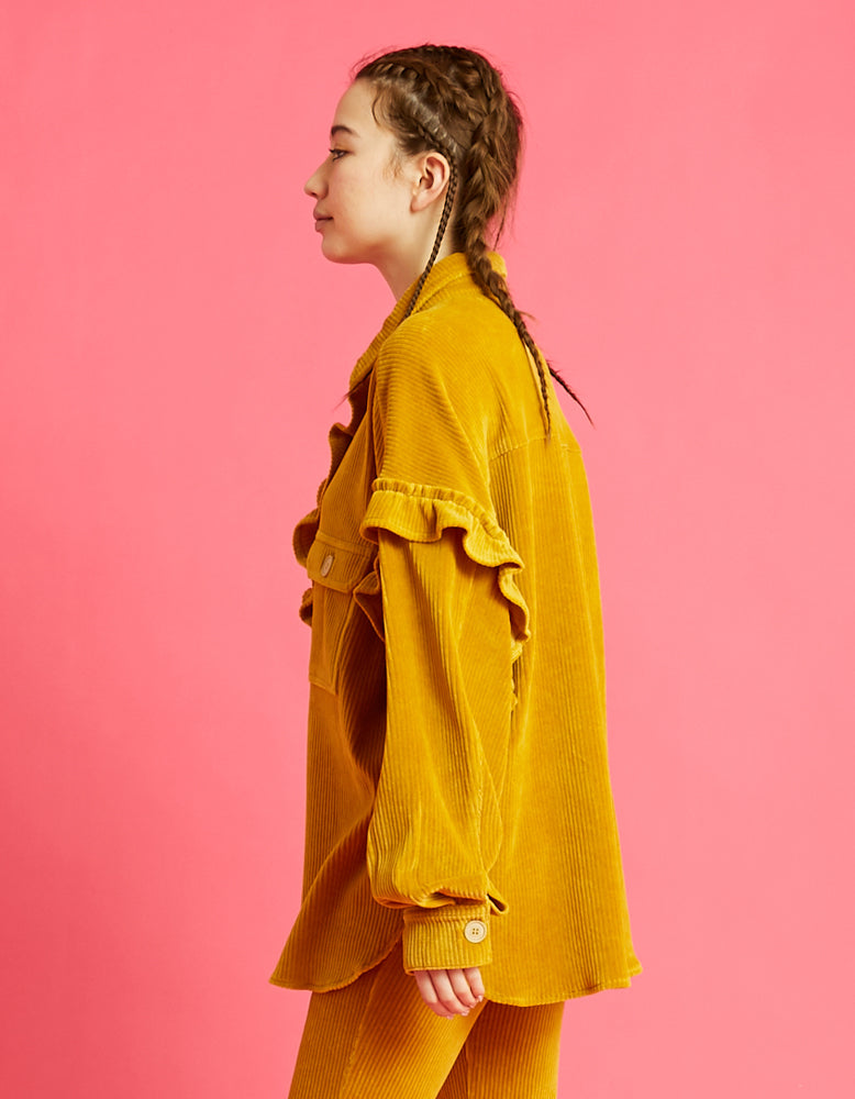 Corduroy big shirts / YELLOW
