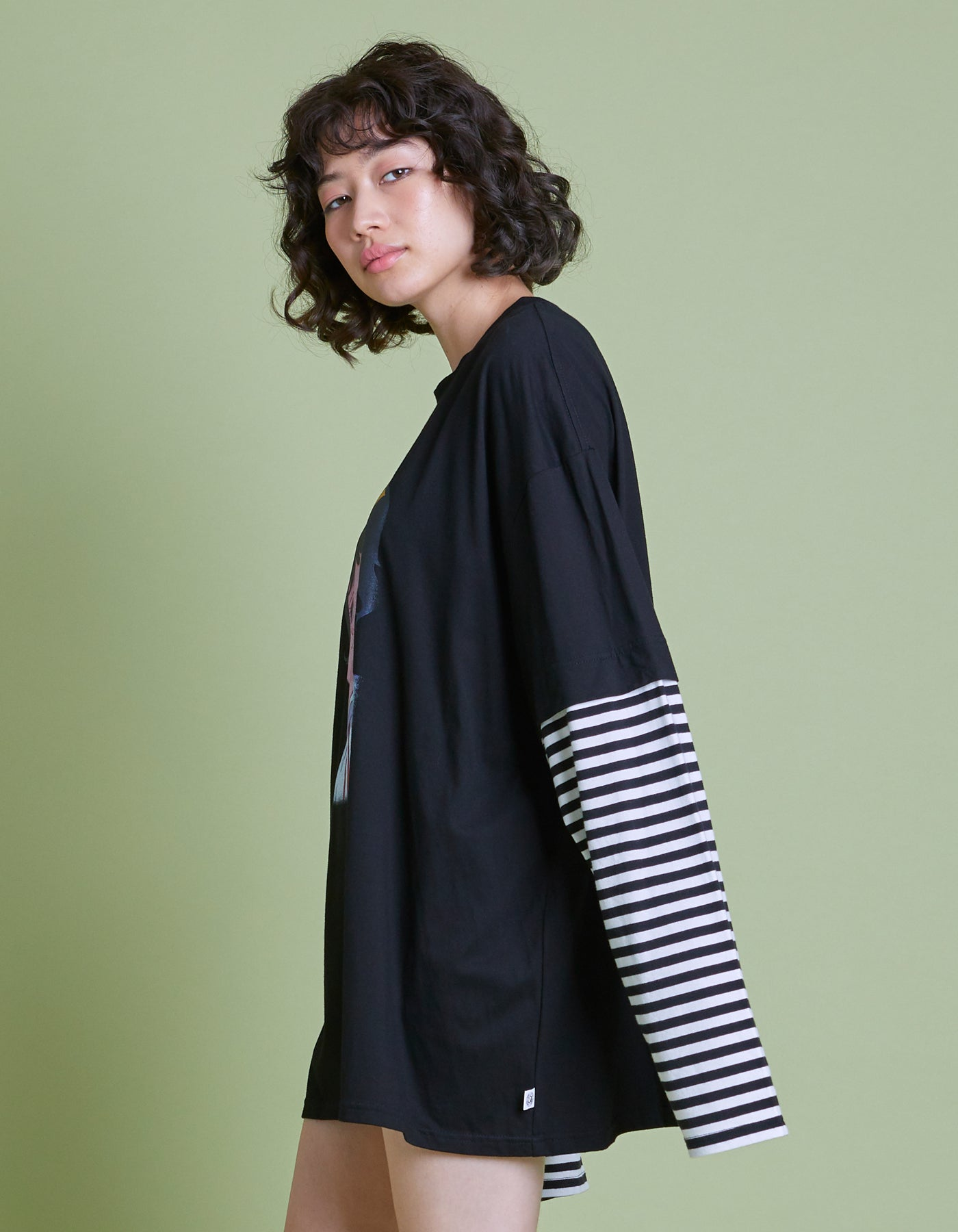 アタックNO1 x little sunny bite Fake layered long tee / BLACK