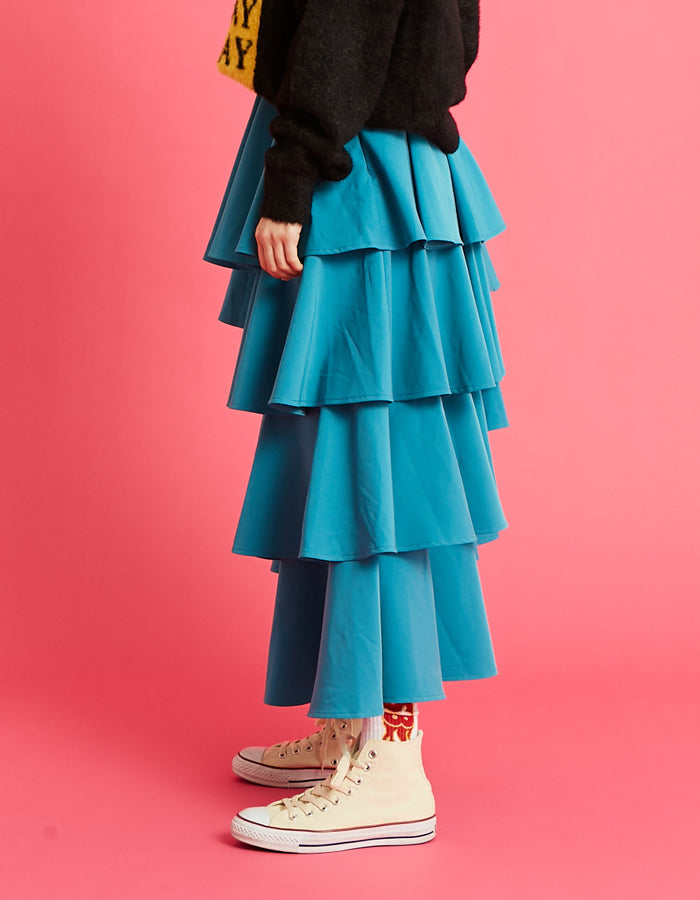 Tiered skirt / BLUE