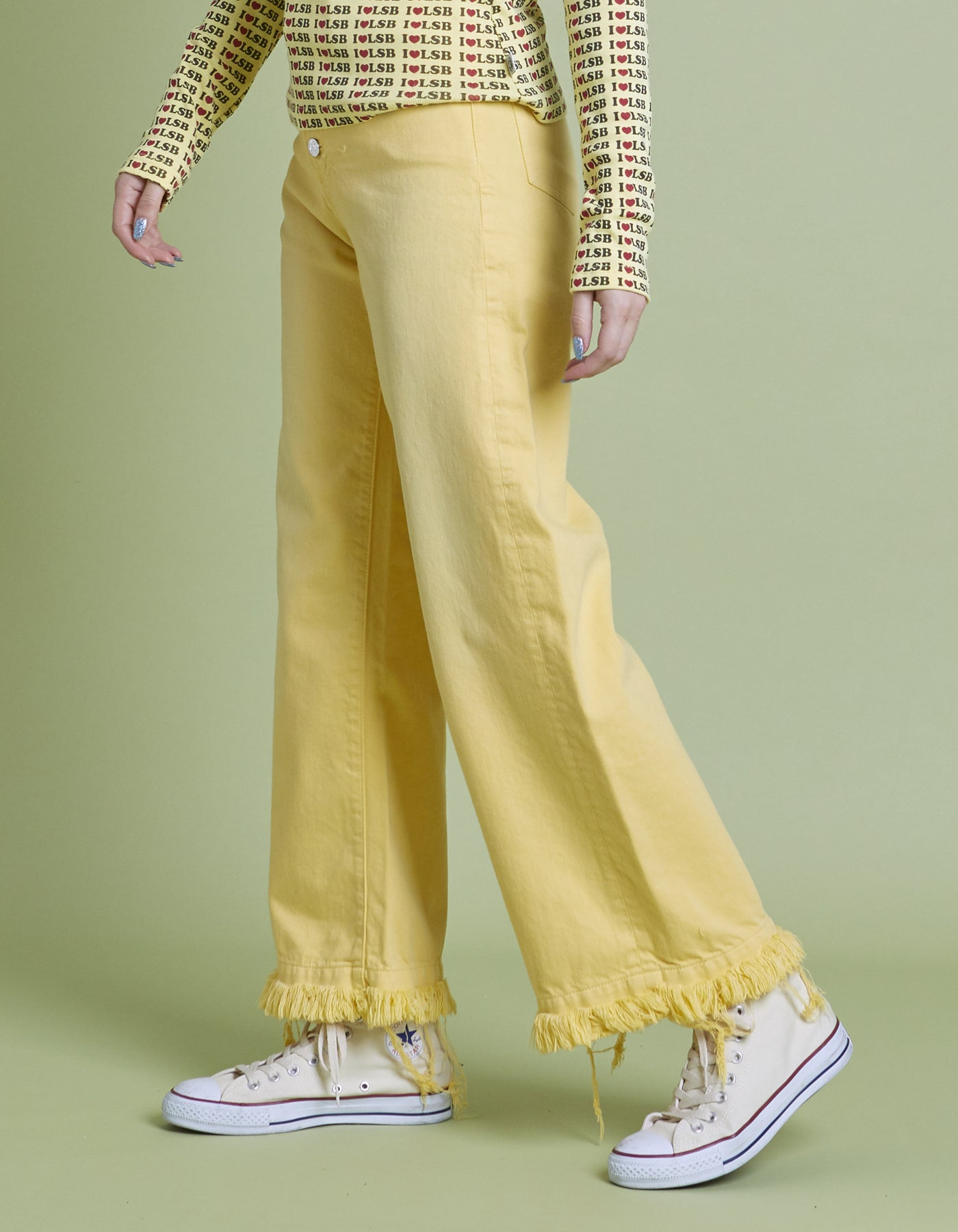 Original colored denim washed pants / YELLOW