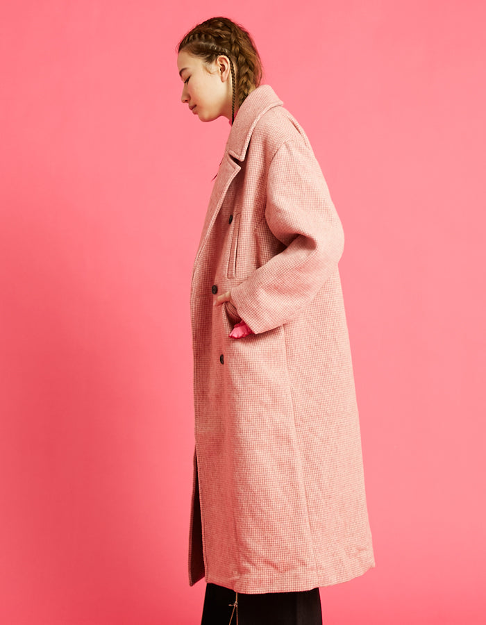 Big check coat / PINK