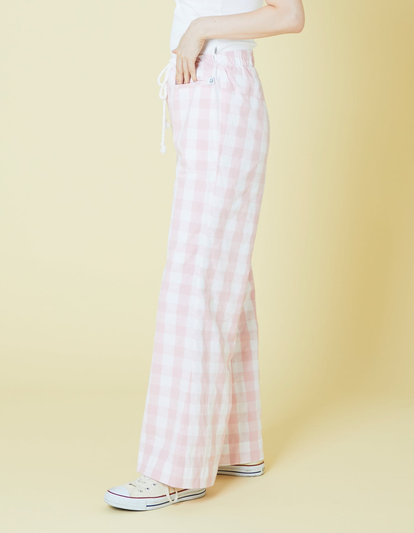 Original floral block check pants / PINK