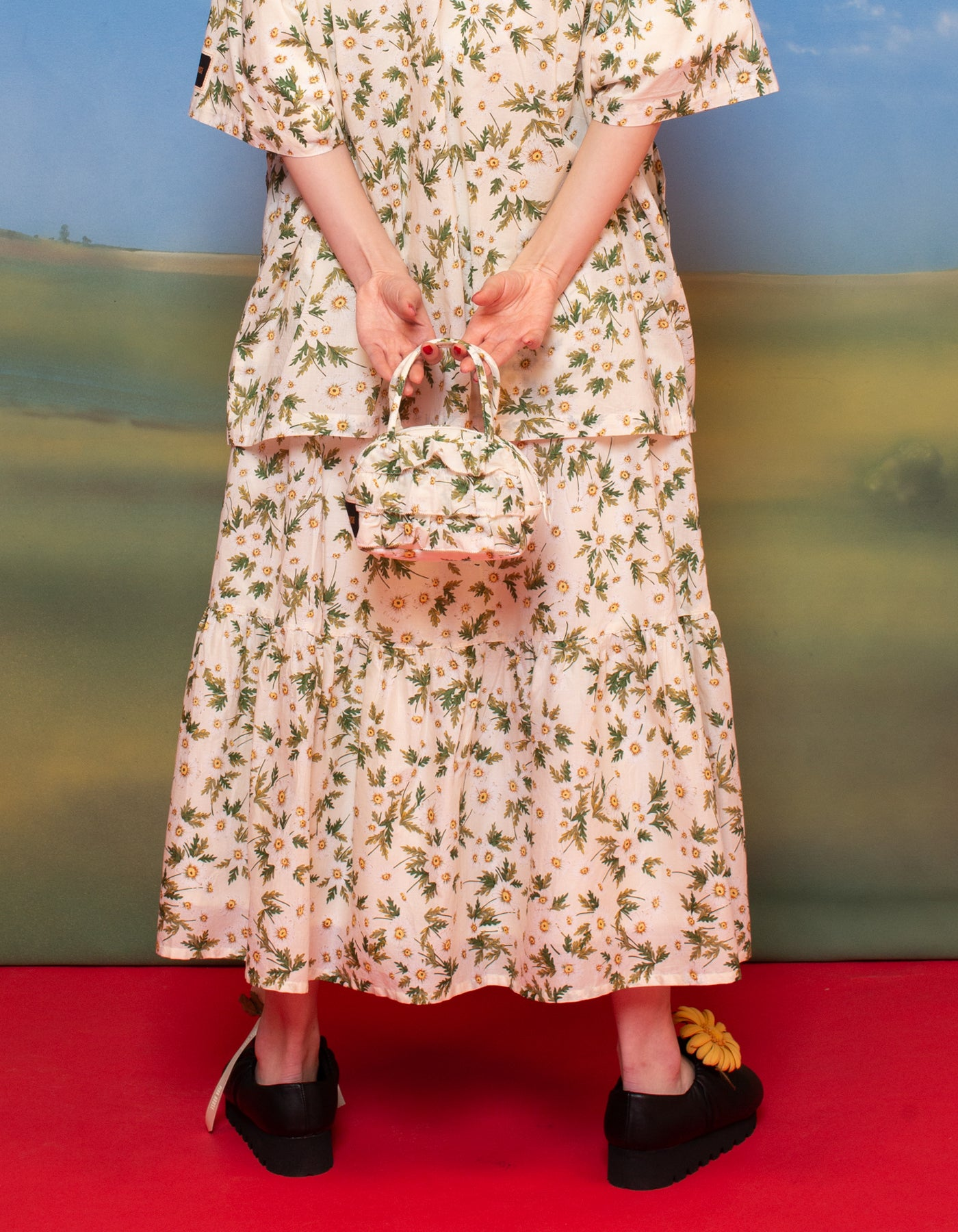 little sunny bite と pink house Flower print skirt / IVORY