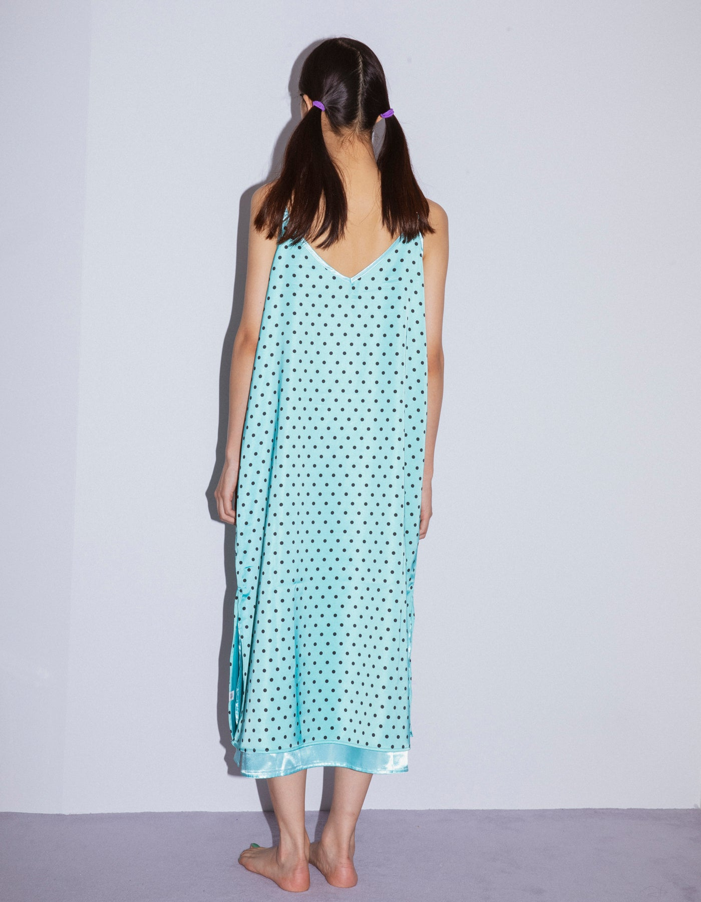 Dot satin dress / BLUE