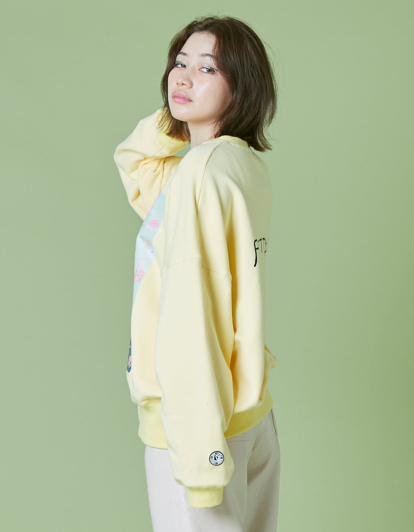 Charlotte mei x little sunny bite Tokyo muse sweat top / YELLOW
