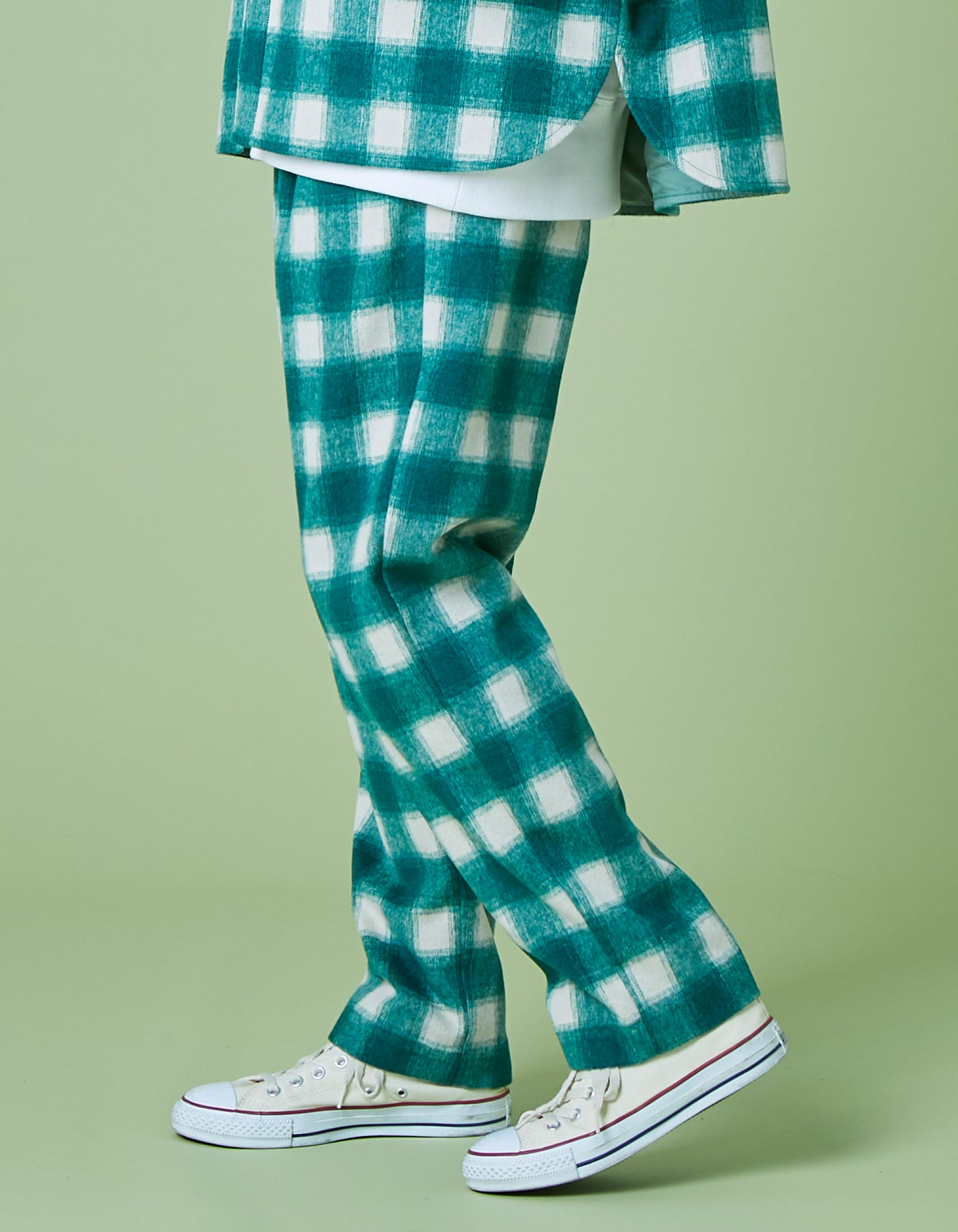 Melton checked pants / GREEN