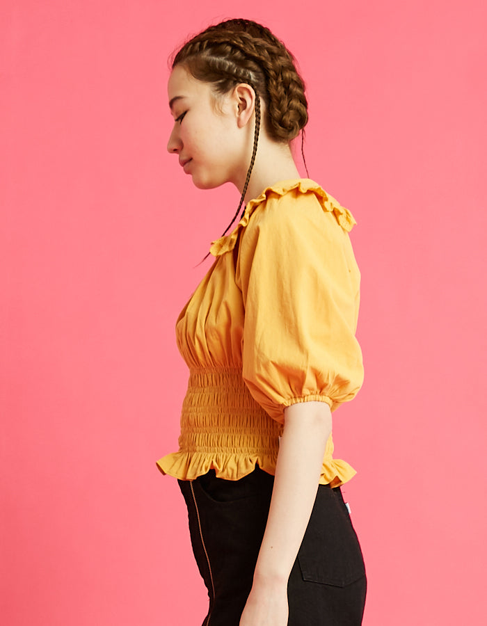Puff sleeve short blouse / YELLOW