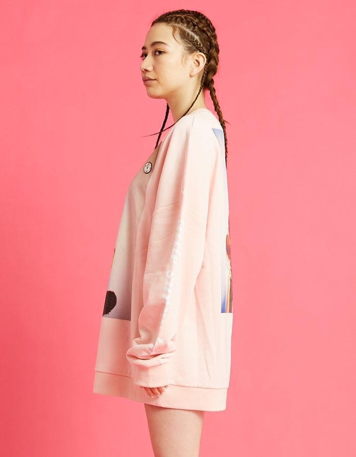 Photo big sweater top / PINK