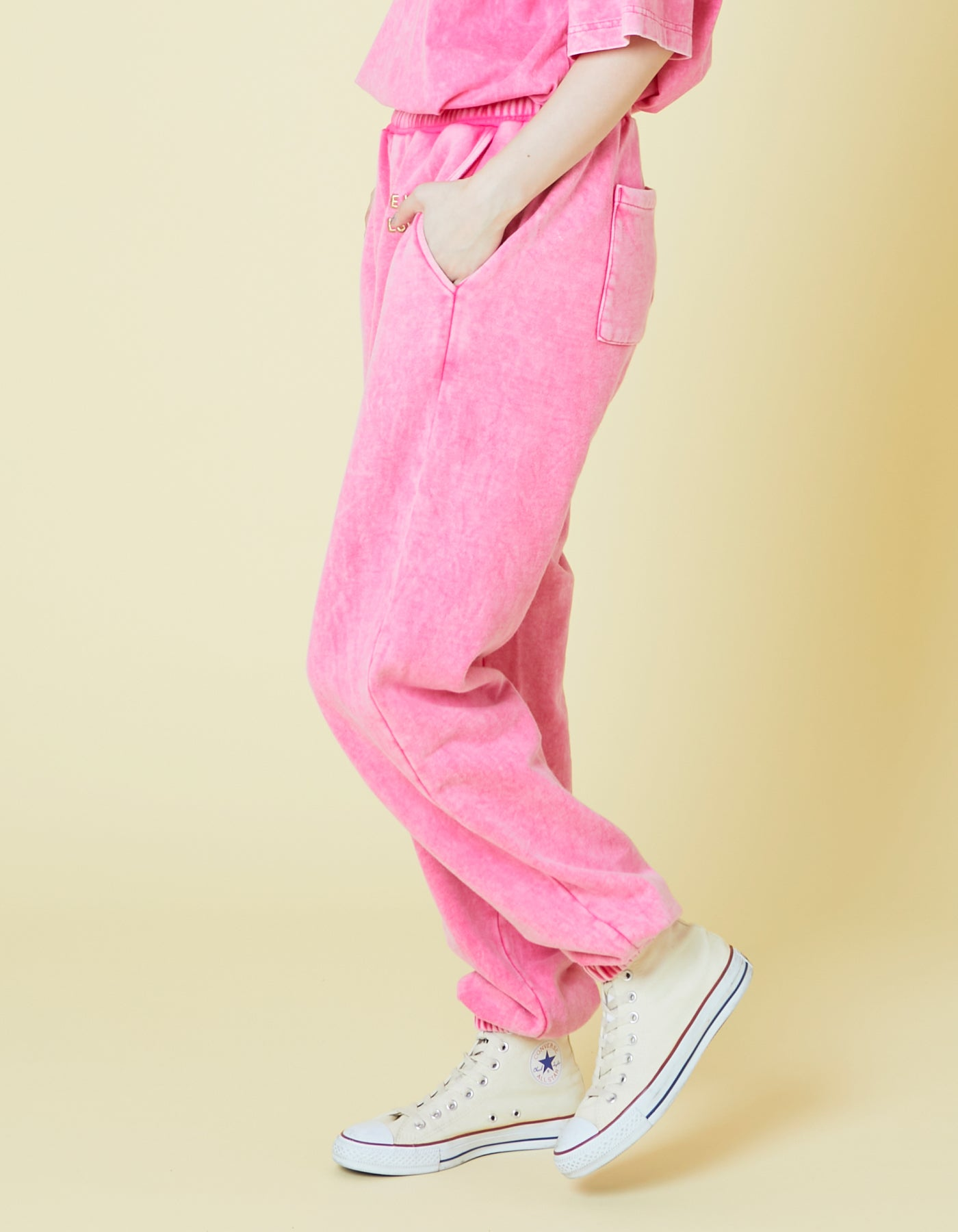 Chemical wash sweat pants / PINK