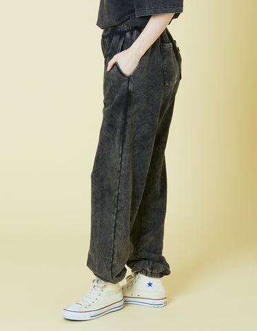 Chemical wash sweat pants / BLACK