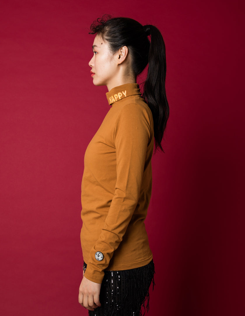 Colorful figh neck top - high neck top / BROWN
