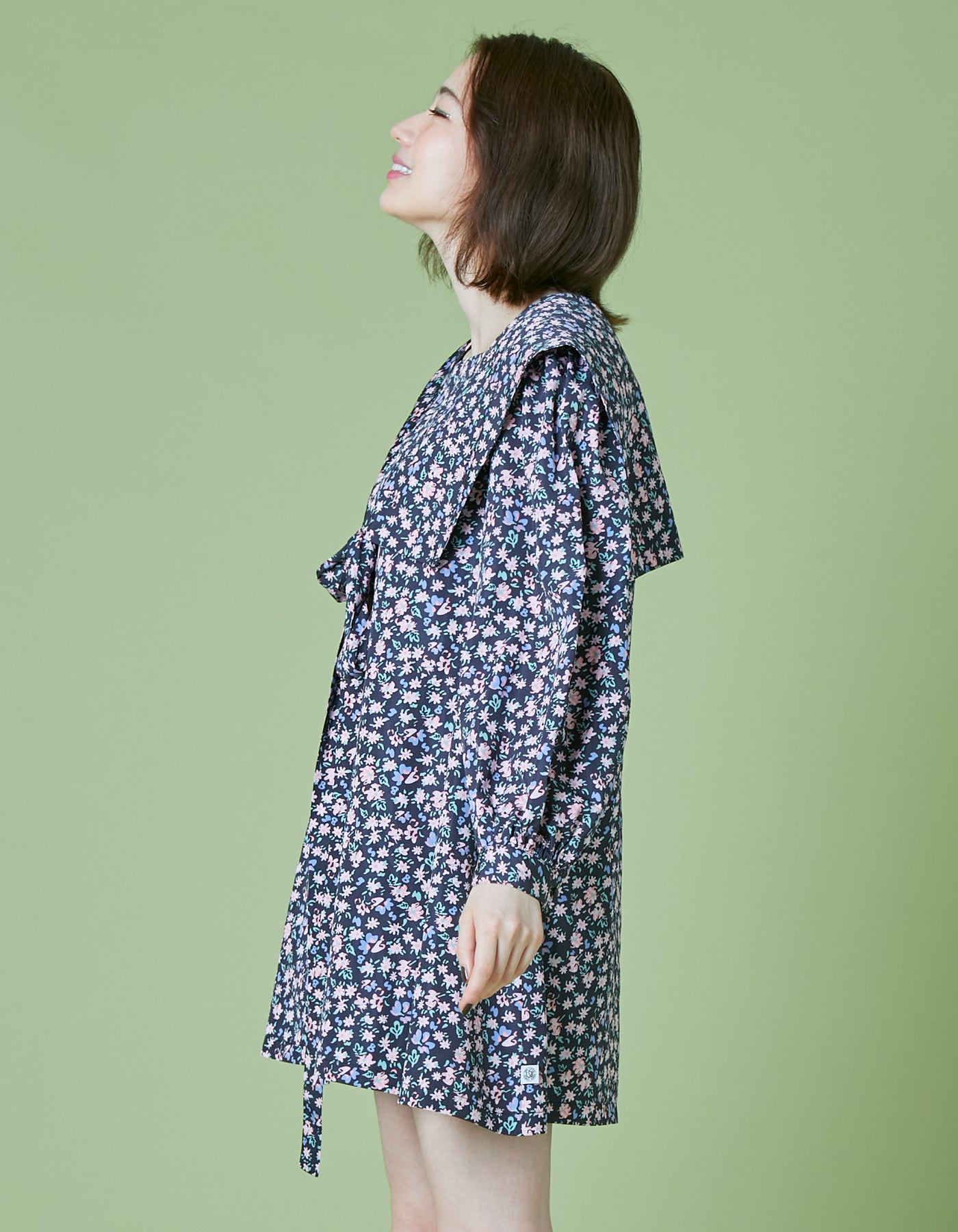 Original floral sailor dress / BLACK