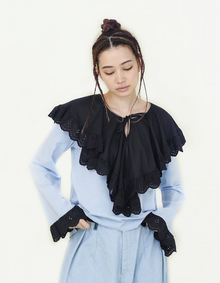 SISTER JANE : BIB COLOUR BLOCK BLOUSE / BLUE