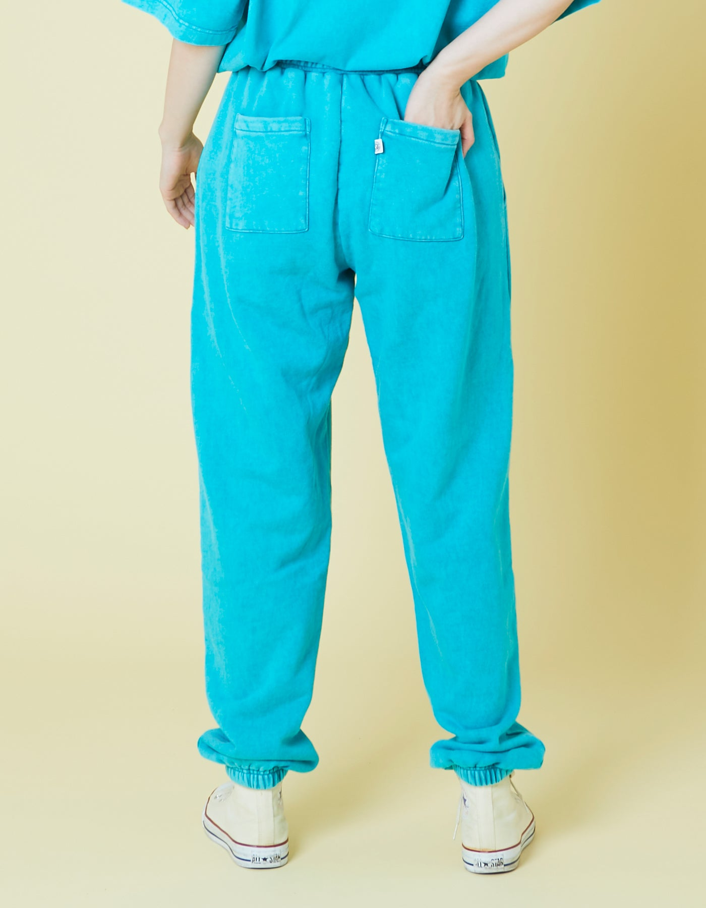 Chemical wash sweat pants / BLUE