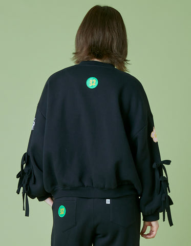 Patches all over sweat jacket / BLACK
